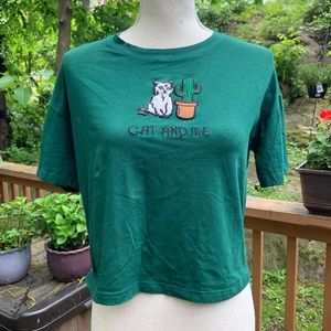 Cat and Me!  Green Crop Tee